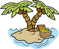 Cartoon island with palm trees and a treasure chest. Stock Photography