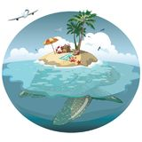 Cartoon island on a sea turtle. Illustration for a travel company. Summer vacation at the sea. Illustration of a sandy. Wild beach with palm trees and luggage Stock Image