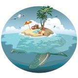Cartoon island on a sea turtle. Illustration for a travel company. Summer vacation at the sea. Illustration of a sandy. Wild beach with palm trees and luggage Royalty Free Stock Photos