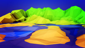Cartoon Island. Stylized low polygon look of a cartoon island with shoreline under a blue sky Royalty Free Stock Images