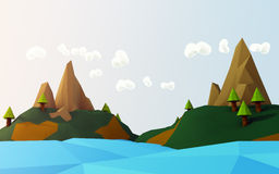 Cartoon Islands And Ocean. Stylized cartoon islands, trees, blue and orange sky with fully little clouds over the ocean Stock Photo