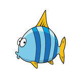Cartoon isolated blue striped fish Stock Images