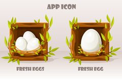 Cartoon isolated egg in wooden square of twigs. Set of fresh eggs in birds nest of twigs. Vector illustration. Web icons and. Isolated egg in wooden square of royalty free illustration