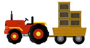 Cartoon isolated farm vehicle on white background - tractor stock illustration