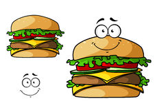 Cartoon isolated fast food cheeseburger Stock Image