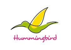 Cartoon isolated flying green hummingbird Stock Photography