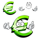 Cartoon isolated green euro sign. Euro sign cartoon character with green shining surface and cheerful smile showing upward, for financial or business design Stock Photo