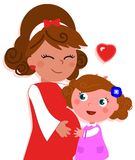 Cartoon isolated pregnant mother with daughter Royalty Free Stock Photo