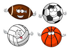 Cartoon isolated sport balls characters Stock Images