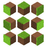 Cartoon Isometric grass and rock stone game brick cube. The vector illustration for ui, web games, tablets, wallpapers, and patterns Royalty Free Stock Image
