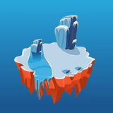 Cartoon Isometric Icy Island for Game, Vector Stock Image