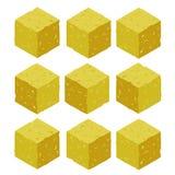 Cartoon isometric sand rock stone game brick cube. Stock Images
