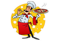Cartoon italian chef brings pizza. Background cheese Stock Images