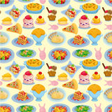 Cartoon Italian food seamless pattern. Drawing Stock Images