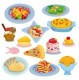 Cartoon Italian food set. Drawing Stock Photos