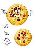 Cartoon italian pizza with ingredients Royalty Free Stock Image