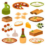 Cartoon Italy food cuisine delicious homemade cooking fresh traditional Italian lunch vector illustration. Stock Images
