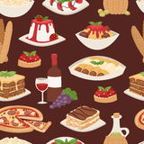 Cartoon Italy food cuisine delicious homemade cooking fresh traditional lunch vector seamless pattern. Stock Images