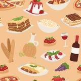 Cartoon italy food cuisine traditional seamless pattern vector illustration. Royalty Free Stock Photos