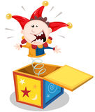 Cartoon Jack In The Box. Illustration of a funny cartoon jack in the box puppet toy character jumping and smiling Stock Images
