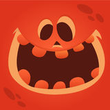 Cartoon Jack-o-Lantern face. Halloween vector illustration of curved pumpkin character. stock photography