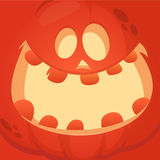 Cartoon Jack-o-Lantern face. Halloween vector illustration of curved pumpkin character. Royalty Free Stock Image