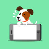 Cartoon jack russell terrier dog and smartphone. For design Royalty Free Stock Photos