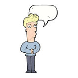 Cartoon jaded man with speech bubble Royalty Free Stock Image
