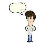 cartoon jaded man with speech bubble Royalty Free Stock Images