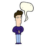 Cartoon jaded man with speech bubble Stock Photography