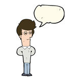 Cartoon jaded man with speech bubble Stock Images