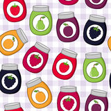 Cartoon Jam Jars Seamless Pattern Stock Images