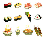 Cartoon Japanese Food Icon Set Royalty Free Stock Photo