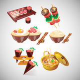 Cartoon Japanese food illustration Stock Images