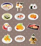 Cartoon Japanese food stickers. Cartoon vector illustration Royalty Free Stock Image