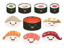 Cartoon japanese food. Vector set sushi cartoon characters. Smile sushi roll and sashimi set Stock Photos