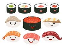 Cartoon japanese food. Vector set sushi cartoon characters. Smile sushi roll and sashimi set Stock Photos