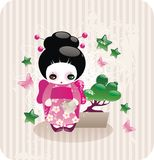 Cartoon japanese girl. In kimono with bonsai Stock Images