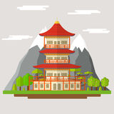 Cartoon Japanese Temple. Vector. Cartoon Japanese Temple Traditional Building on a Landscape Background Flat Design Style. Vector illustration vector illustration