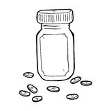Cartoon jar of pills Royalty Free Stock Image