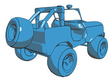 Cartoon Jeep. Illustration of a blue Jeep on a white background Stock Photos