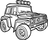 Cartoon jeep. Border Royalty Free Stock Image