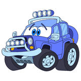 Cartoon jeep car. Cartoon vehicle transport. High speed off-road jeep car, isolated on white background. Childish vector illustration and colorful book page for Royalty Free Stock Images