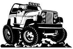 Cartoon jeep Stock Images