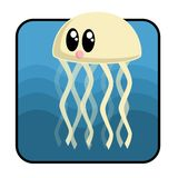 Cartoon Jellyfish. A Cute cartoon jellyfish with many tentacles Royalty Free Stock Photography
