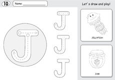 Cartoon jellyfish and jam. Alphabet tracing worksheet: writing A Stock Image