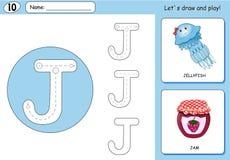 Cartoon jellyfish and jam. Alphabet tracing worksheet Stock Photos