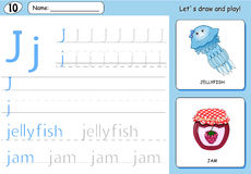 Cartoon jellyfish and jam. Alphabet tracing worksheet Royalty Free Stock Image