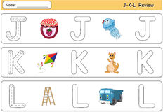 Cartoon jellyfish, jam, kite, kangaroo, lorry and ladder. Alphab Royalty Free Stock Photo