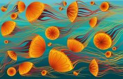 Cartoon jellyfish and sea. Stock Photography